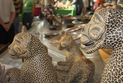 A leap of ceramic leopards