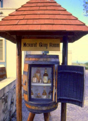 Mount Gay's famous rums on display near the gate.