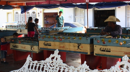 Open air foosball parlor on the plaza, San Cristóbal Zapotitlán