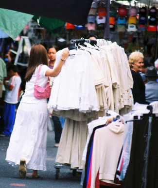 Clothes on wheels, Santa Teresita market, Guadalajara