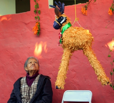 An abuela eyes a pinata at her grandaughter's quinceañera