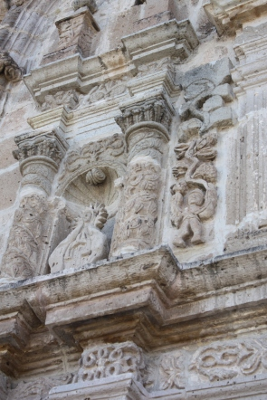 Detail of church facade, San Juan Evangelista