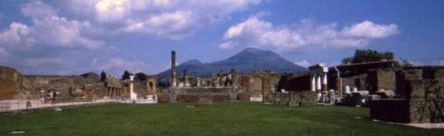 Vesuvius smolders less than 5 miles behind Pompeii