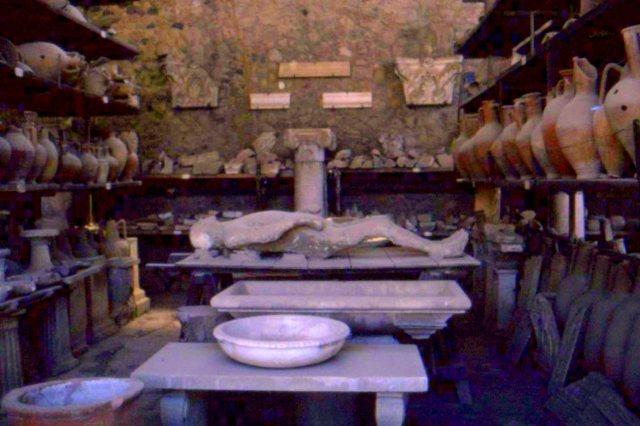 A plaster mummy cast from an ashen mold