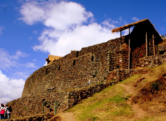 Ramparts above homes and terraces, Pisac, Peru
