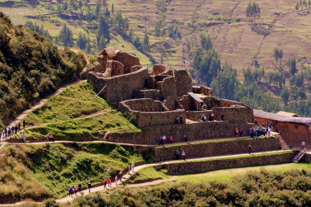 Ramparts seen from above, ruins at Pisac, Peru