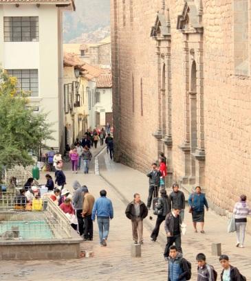 Street in historic center of Cusco, Peru
