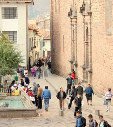 Street in historic center of Cusco, Peru