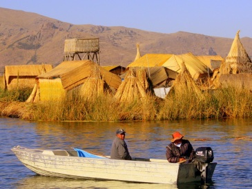 Floating islands near las Islas Uros, Peru