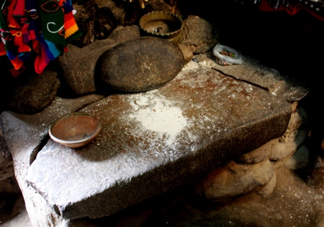 Stones used to hand-grind corn.