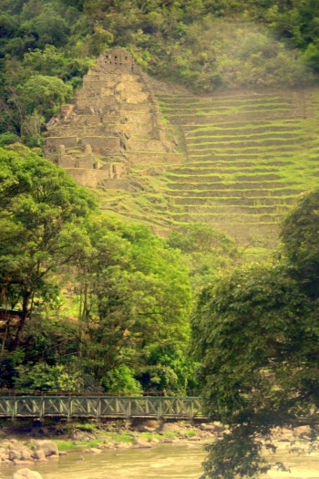Inca terraces overlooking a footbridge