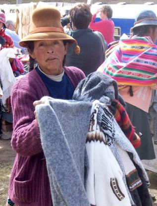 Artisan vendor at La Raya, Peru