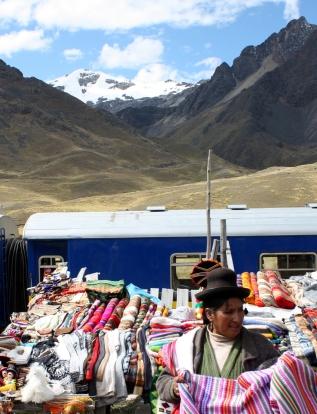 Artisan market and Andean Explorer, La Raya, Peru