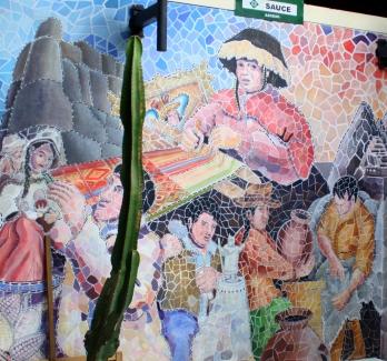 Mosaic mural at the Cusco artisans' market.