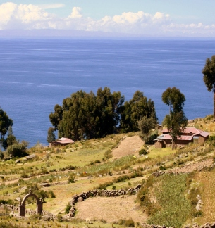 View across the island to Lake TIticaca.