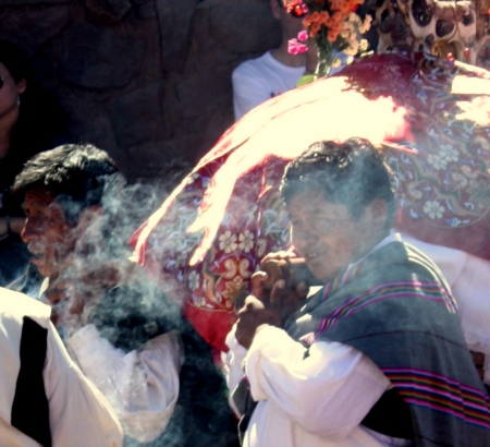 Altar boys carry the wreathed image of paired bulls.