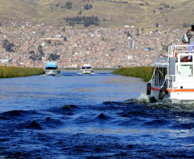 Looking back on Puno, Peru.