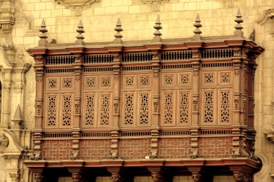 Hand-carved lattice work on the Archbishop's Palace