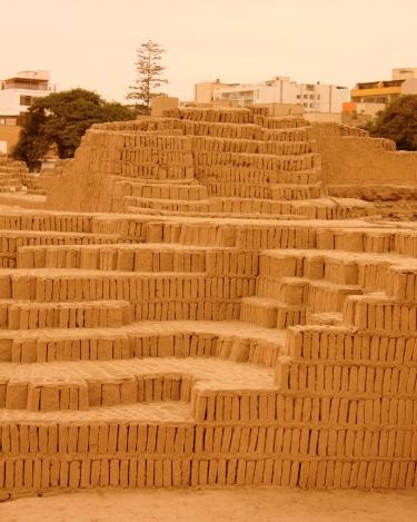 Pre-Inca ruins of Huaca Pucllana, Lima, Peru