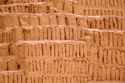 Spaces between the bricks of Huaca Pucllana allow the structure to stretch during earthquakes