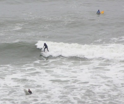 Surfers brave the waves in the height of winter