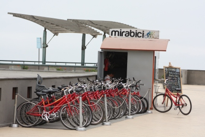 Bicycle rental stand on the oceanfront