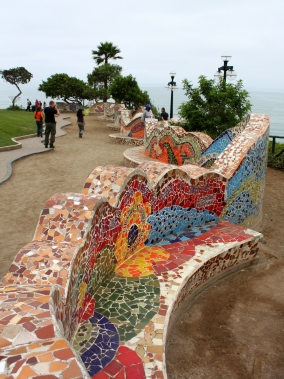 Mosaic wall along the ocean front