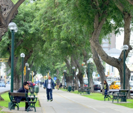 One of Lima's many boulevard sidewalks