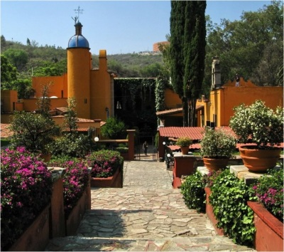 Gardens and house, Museo Ex-Hacienda San Gabriel Barrera, Guanajuato, Mexico