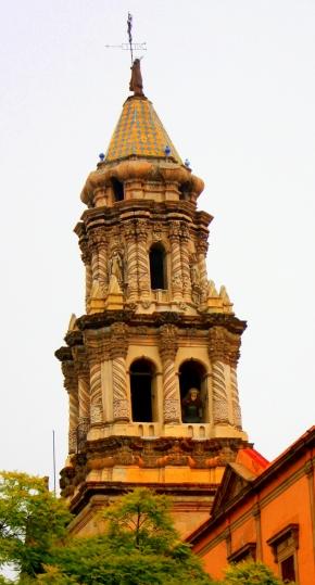 Belltower of Templo del Carmen, Plaza de las Armas, San Luis Potosí, Mexico