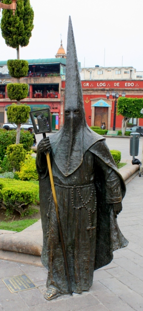 Bronze scultpture of hooded penitent, Centro Historico, San Luis Potosí, Mexico
