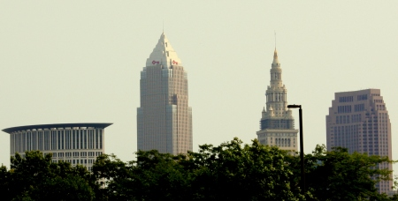 View of Downtown Cleveland from the West Bank of the Cuyahoga River.