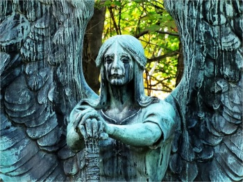 "Gravesite statue ""Angel of Death Victorious"" by sculptor Herman Matzen."