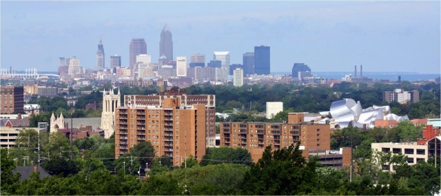 Cleveland skyline from heights above Lakeview Cemetery