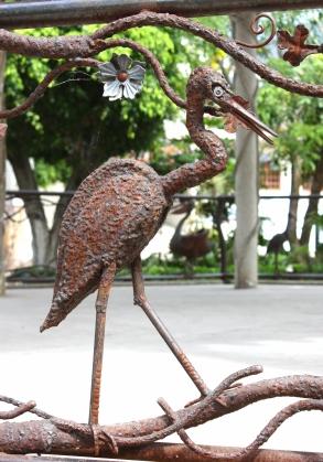 Metal sculpture on Plaza gazebo railing, Ajijic, Jalisco