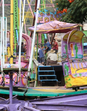 Amusement rides lined up on Calle Colón, Ajijic, Jalisco