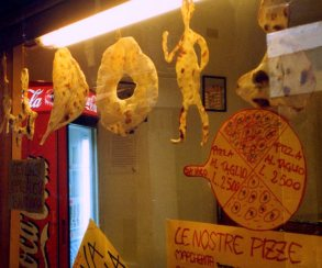 Pizza  dough sculptures, pizzeria, Venice, Italy