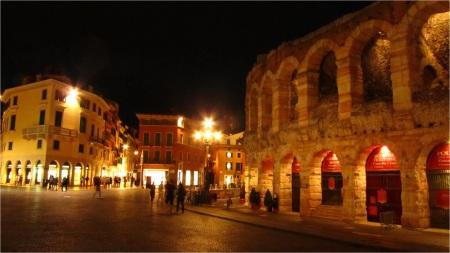 Piazza Bra (Arena at right), Verona, Italy
