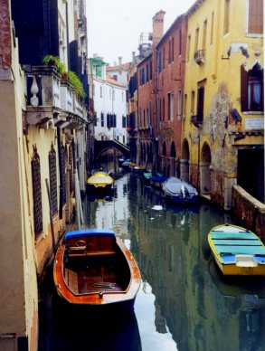 Tributary canal and boats, Venice