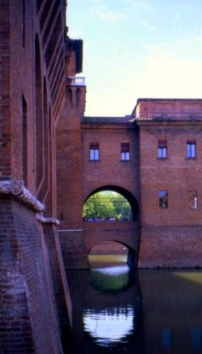 Moat around the Castello Estense, Ferrara, Italy