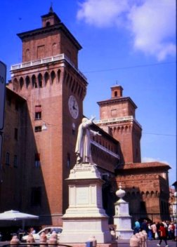 No Italian piazza is complete without its clock tower.  Ferrara, Italy.