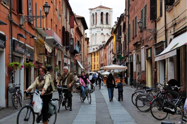 Bicycles really do outnumber cars in the old city, Ferrara, Italy