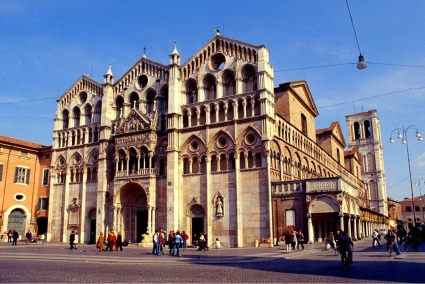 Facade of the Cathedral of Ferrara, Italy.