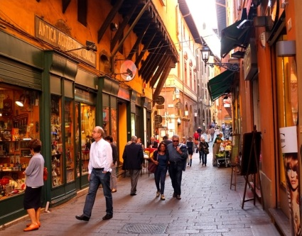 Narrow streets of the old city, Bologna, Italy