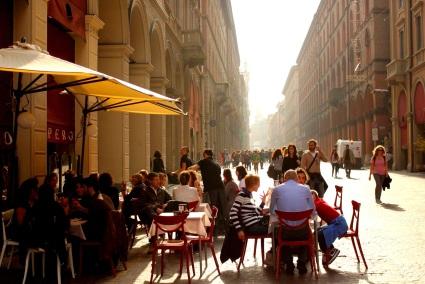 Sidewalk caffè in Bologna, Italy.