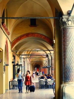 Portico and promenade, Bologna, Italy.
