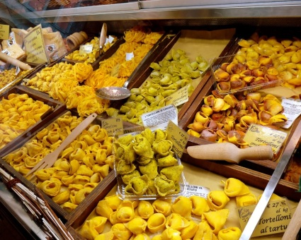Pasta comes in different shapes, sizes, and colors in Bologna, Italy.