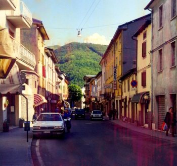 Apennine village, road from Bologna to Florence, Italy.