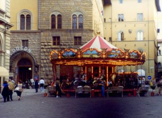 Carousel in piazza, Florence. Italy,