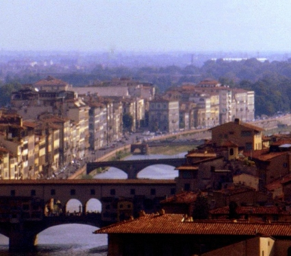 Arno river bridges, Ponte Vecchio in foreground, Florence, Italy.